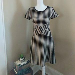 LOFT • Textured Crisscross Fit & Flare Dress